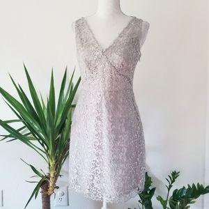 BCBGMaxAzria Silver Lynette Lace Cocktail Dress 2